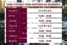 Otevírací doba zimní sezona 2019 | Hospůdka Na Kasárnách Veselice Moravský kras